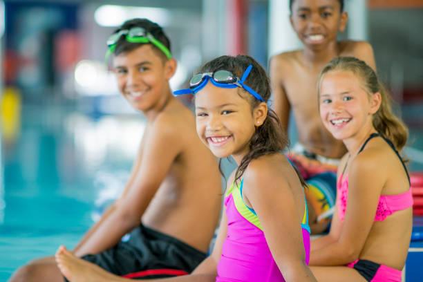 Children at a Swimming Lesson stock photo