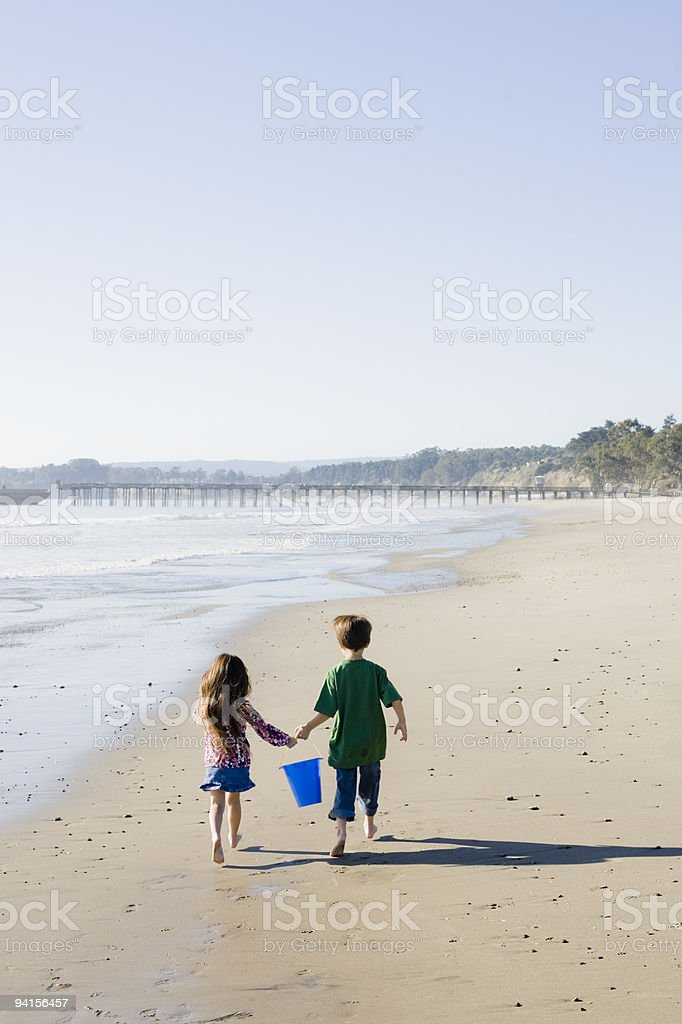 Children at Beach royalty-free stock photo
