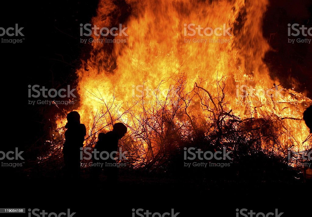 Children at bonfire royalty-free stock photo