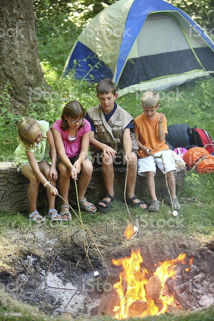 Children at campsite roasting marshmallows royalty-free stock photo