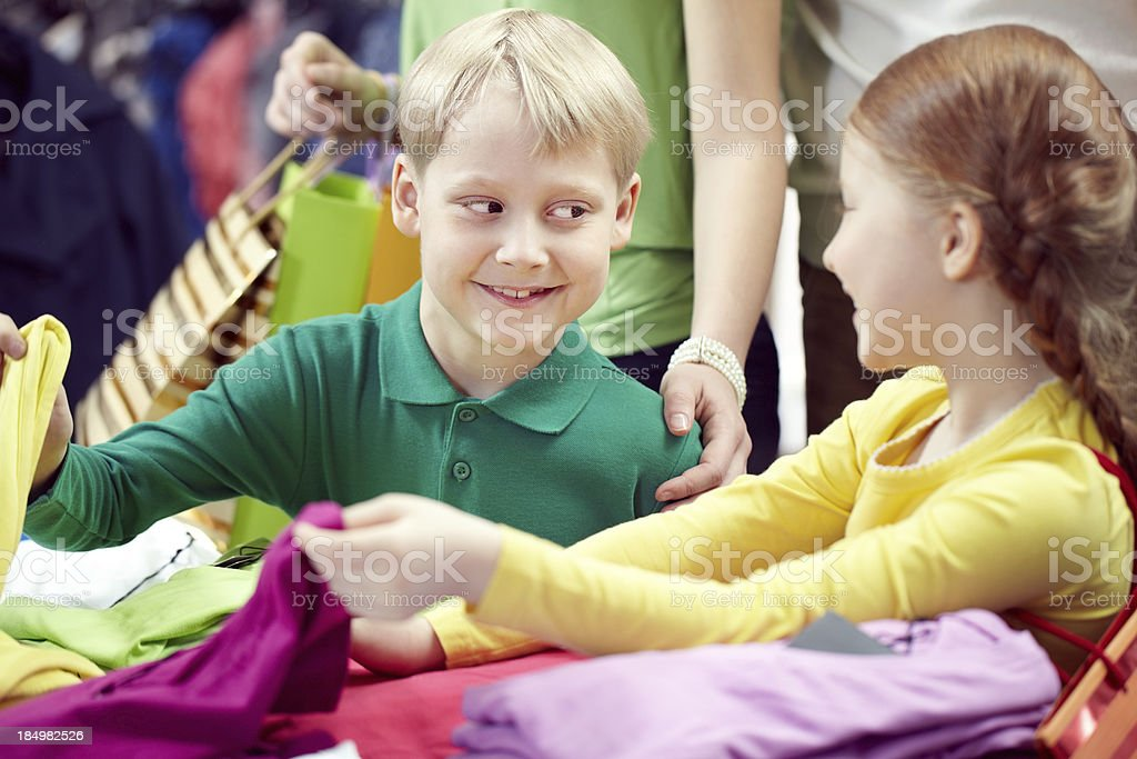 Children at clothing store royalty-free stock photo