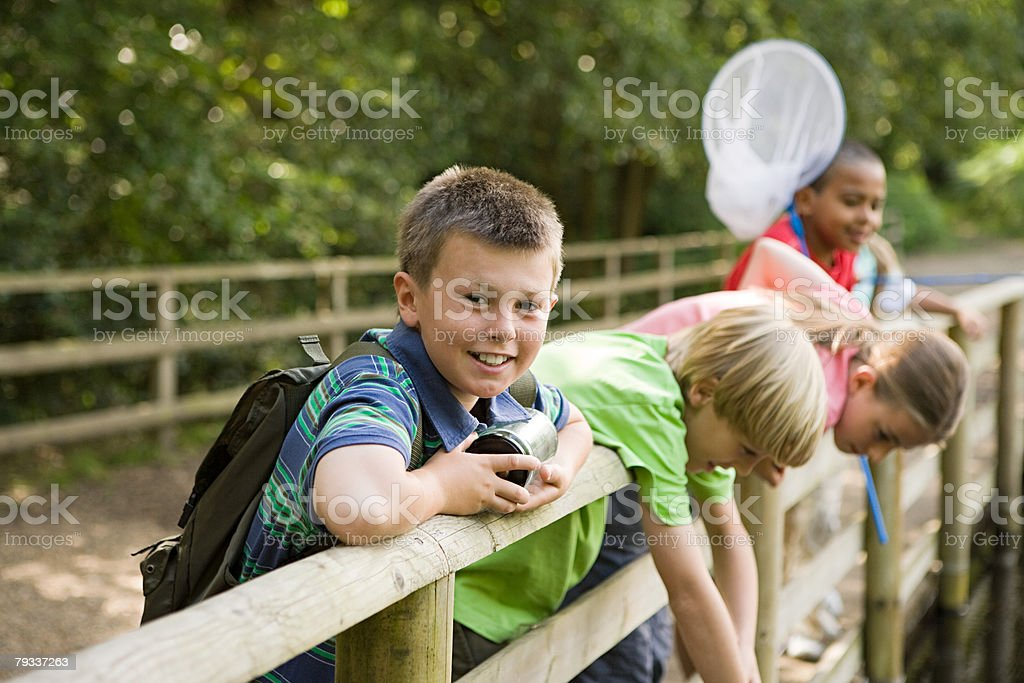 Children at nature reserve 免版稅 stock photo