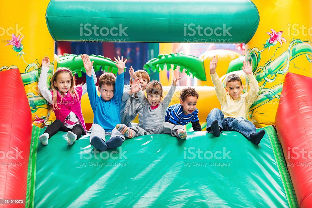 Children at playroom. stock photo