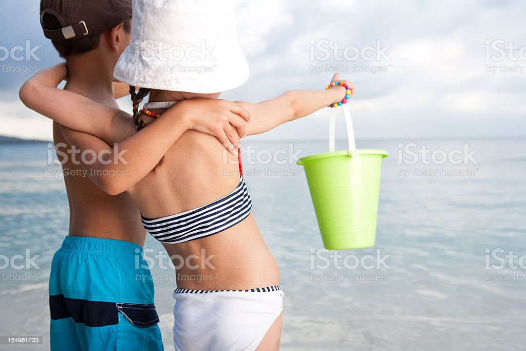 Children at the beach royalty-free stock photo