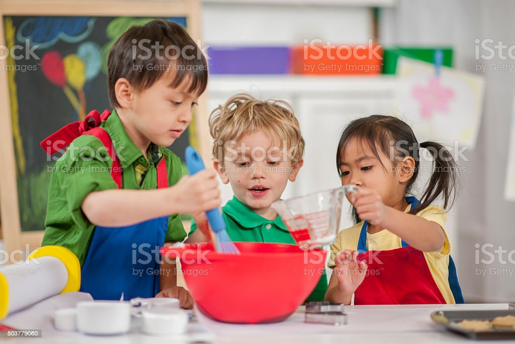 Children Baking at School stock photo
