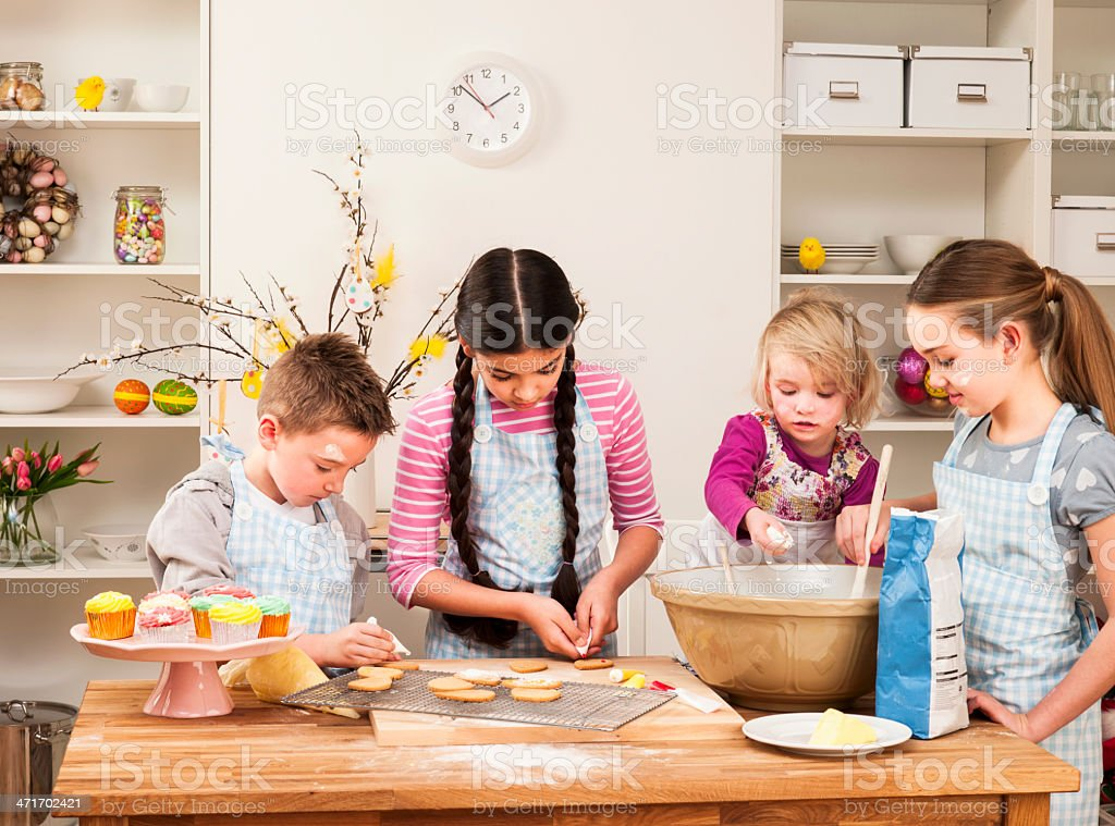 Children Baking Together royalty-free stock photo