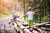 istock Children balancing on tree trunks 624492258