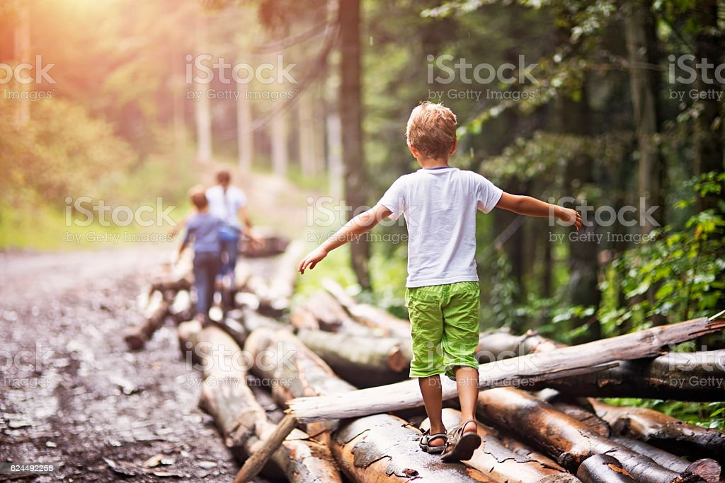 Children balancing on tree trunks stock photo