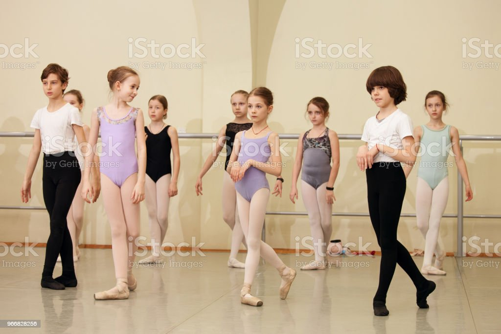 children ballet dancers rehearse a theatrical performance