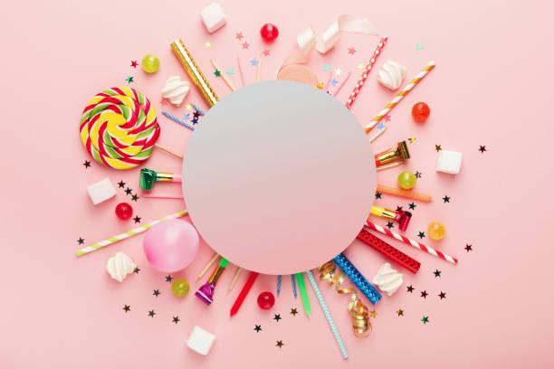 Children birthday party background stock photo