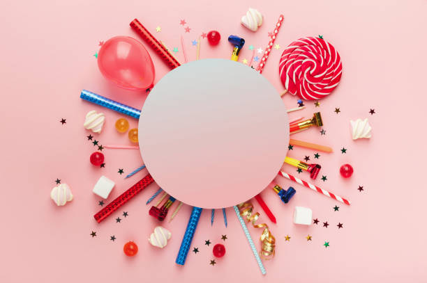 Children birthday party background stock photo