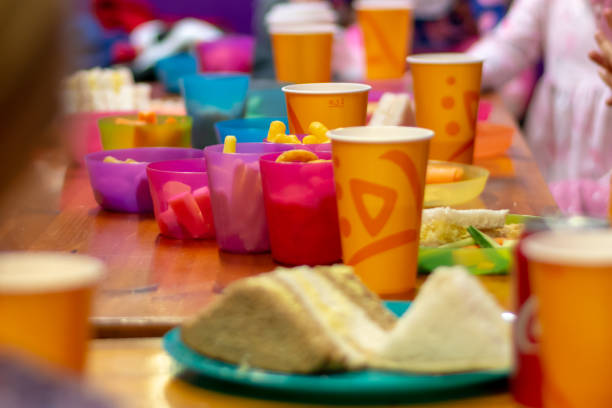 Children birthday party food stock photo
