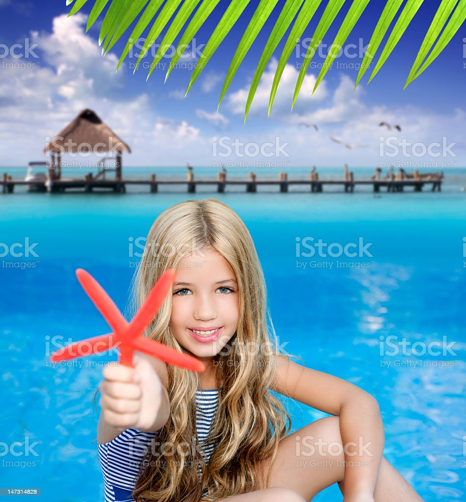 children blond girl in summer vacation tropical beach royalty-free stock photo