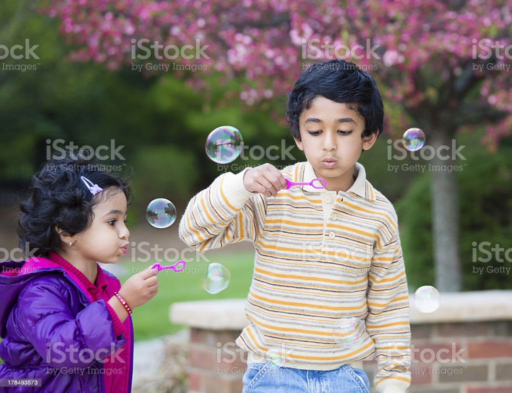 Children Blowing Bubbles in Their Yard stock photo