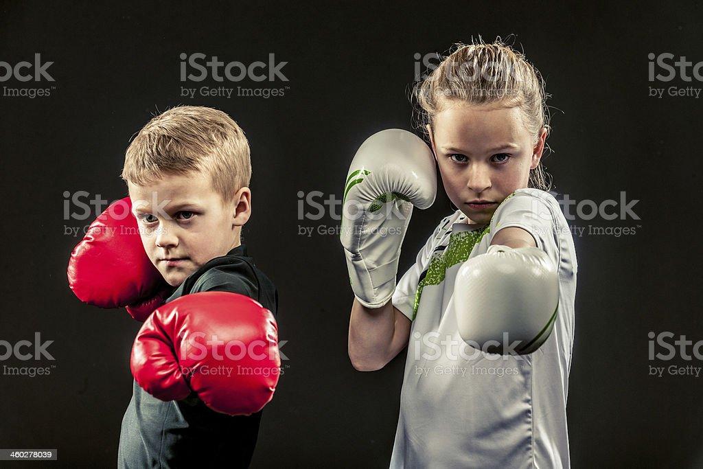 Children boxing stock photo