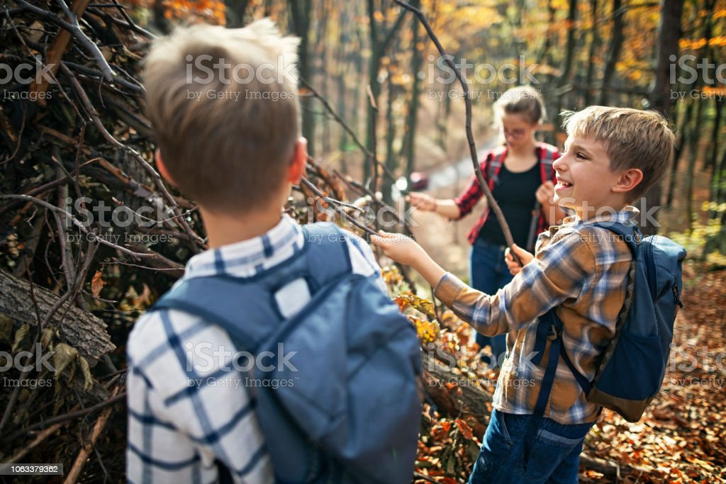 Children building stick shelter in autumn forest stock photo