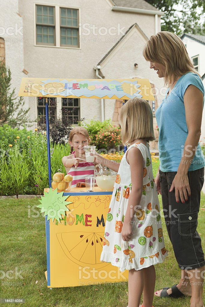 Children Business Person Entrepreneur Lemonade Stand with Customers Vt royalty-free stock photo