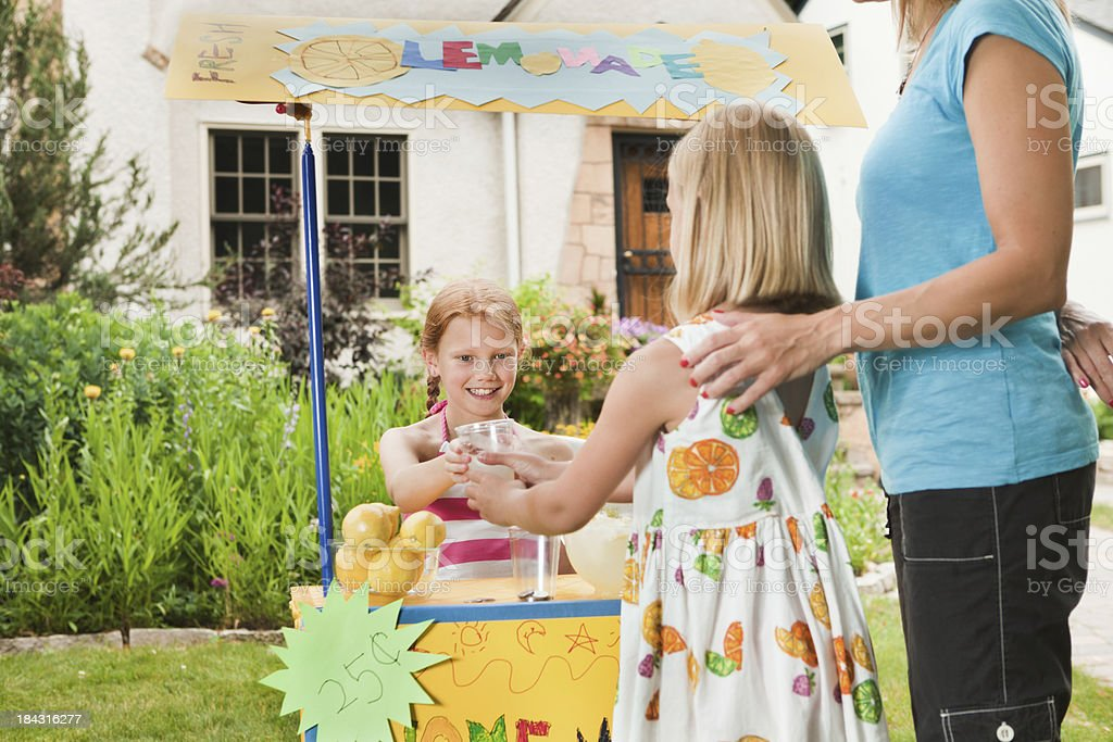 Children Business Person Entrepreneur Lemonade Stand with Customers Hz royalty-free stock photo