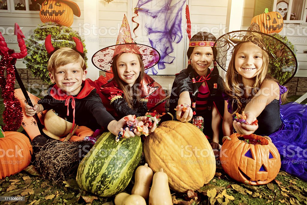 Children celebrating Halloween stock photo