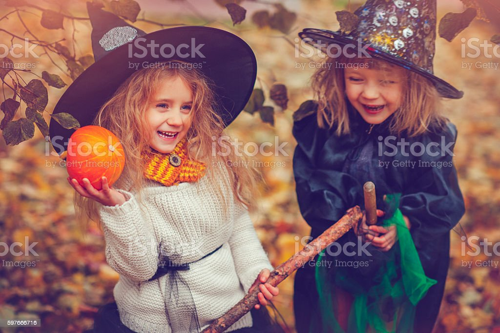 Children celebrating Halloween royalty-free stock photo