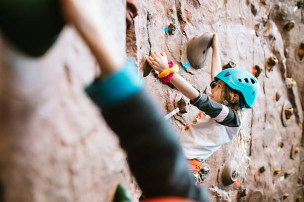 Children Climbing Indoor Rock Wall