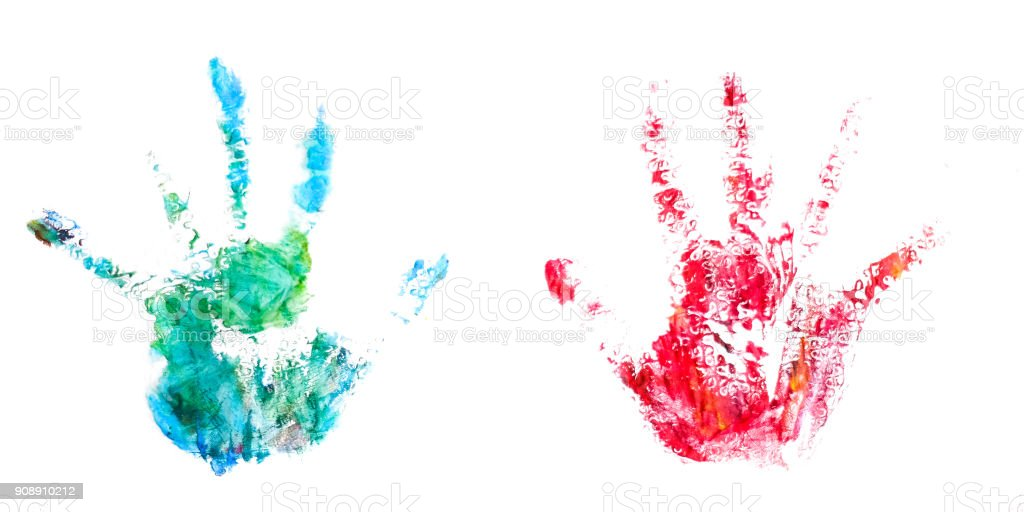 Children colored hands dirty stock photo
