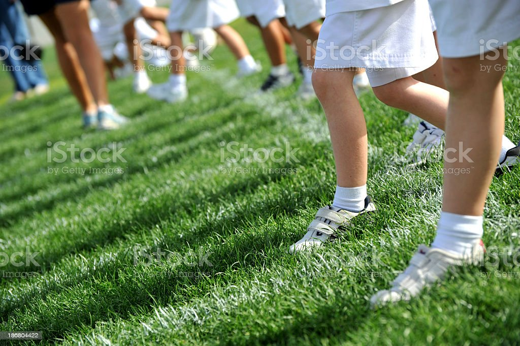 Children competing in a sports day stock photo
