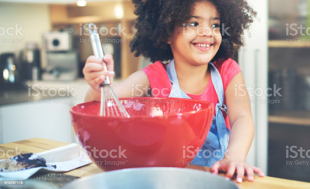Children Cooking Happiness Activitiy Home Concept stock photo