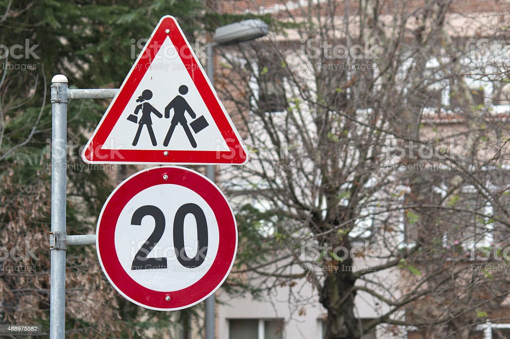 Children Crossing Road Sign-School Crossing Sign stock photo