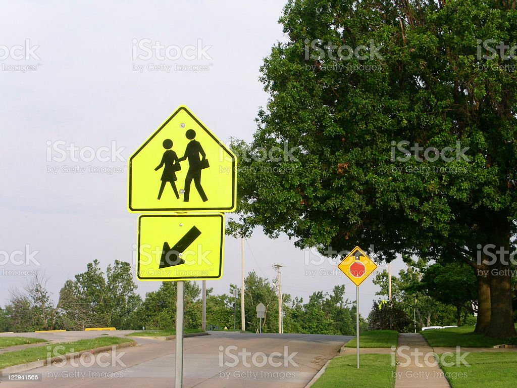 Children Crossing Sign stock photo