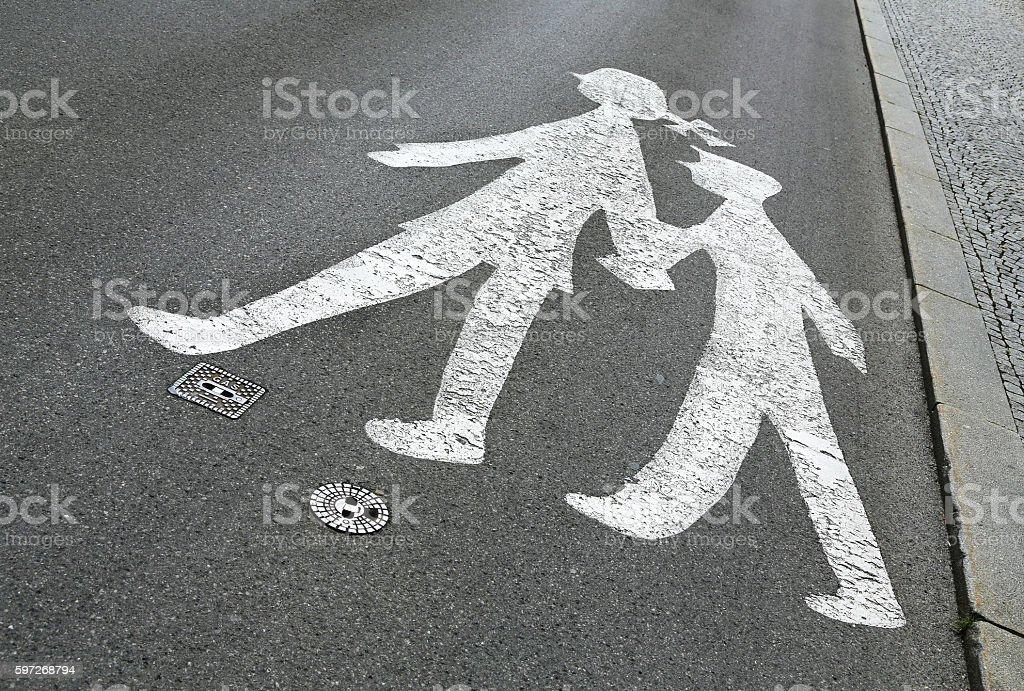 children crossing sign stock photo