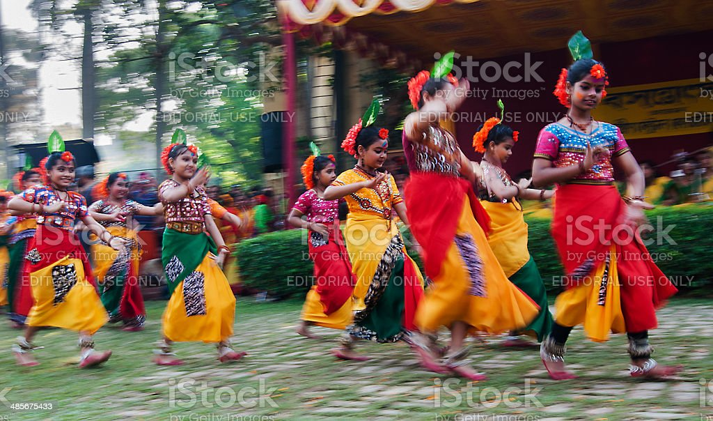 Children dance performers at spring festival stock photo