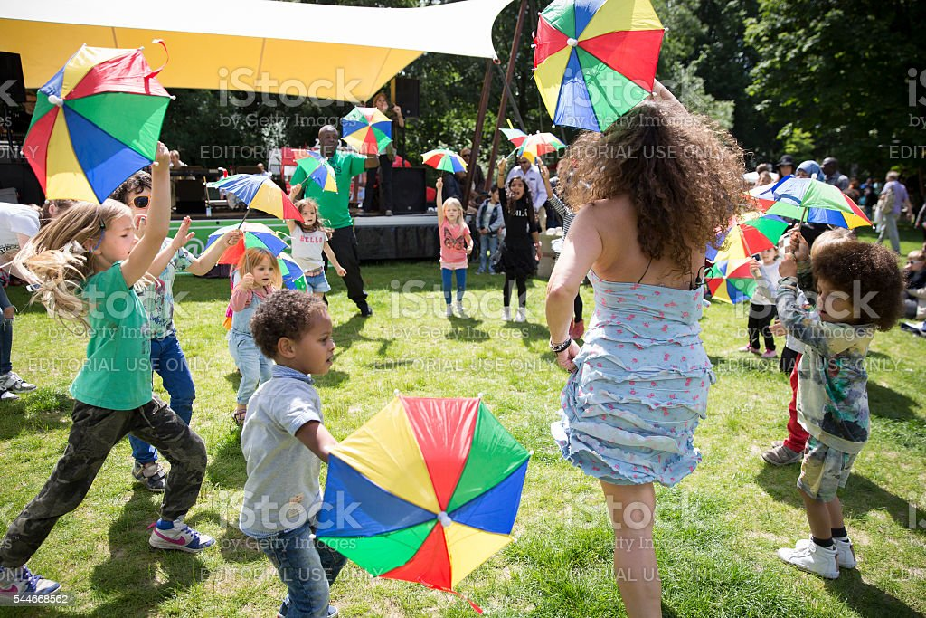 Children dance workshop  Amsterdam Roots Open Air festival stock photo