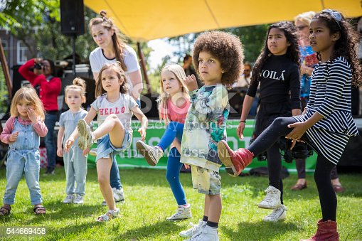 Amsterdam, The Netherlands - July 3, 2016: dance workshop with children at Amsterdam Roots Open Air, free public cultural festival held in Oosterpark