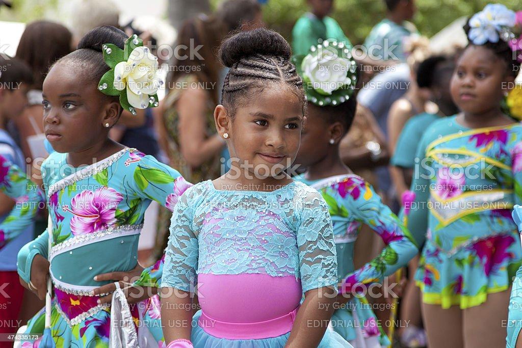 children dancers at a parade during St. John Carnival, USVI stock photo