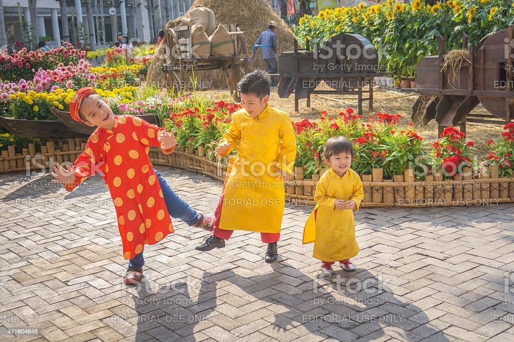 Children dancing happy laughing stock photo