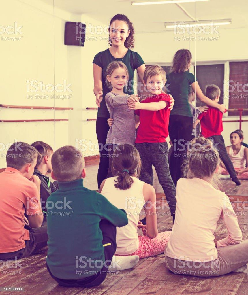 Children dancing pair dance stock photo