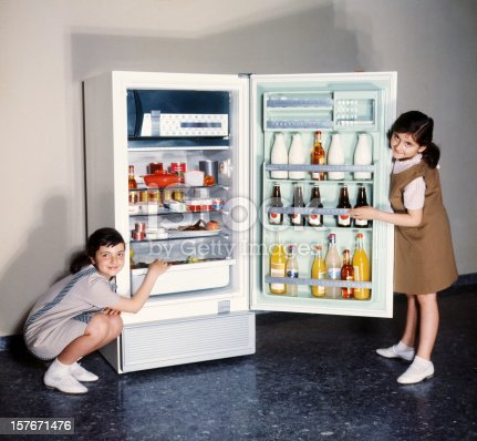 Two smiling girls proudly posing by an open refrigerator. All products in the fridge altered to avoid copyright issues. Sixties film scan, some grain visible.
