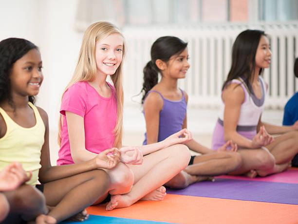 Children Doing Yoga stock photo