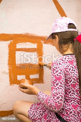 istock children draw a picture on the wall 583734836