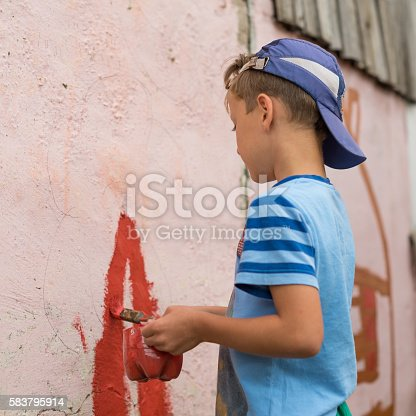 istock children draw a picture on the wall 583795914
