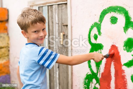 istock children draw a picture on the wall 583801598