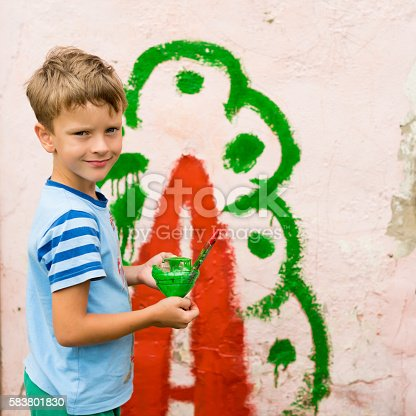 istock children draw a picture on the wall 583801830