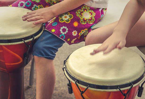 Children Drumming stock photo