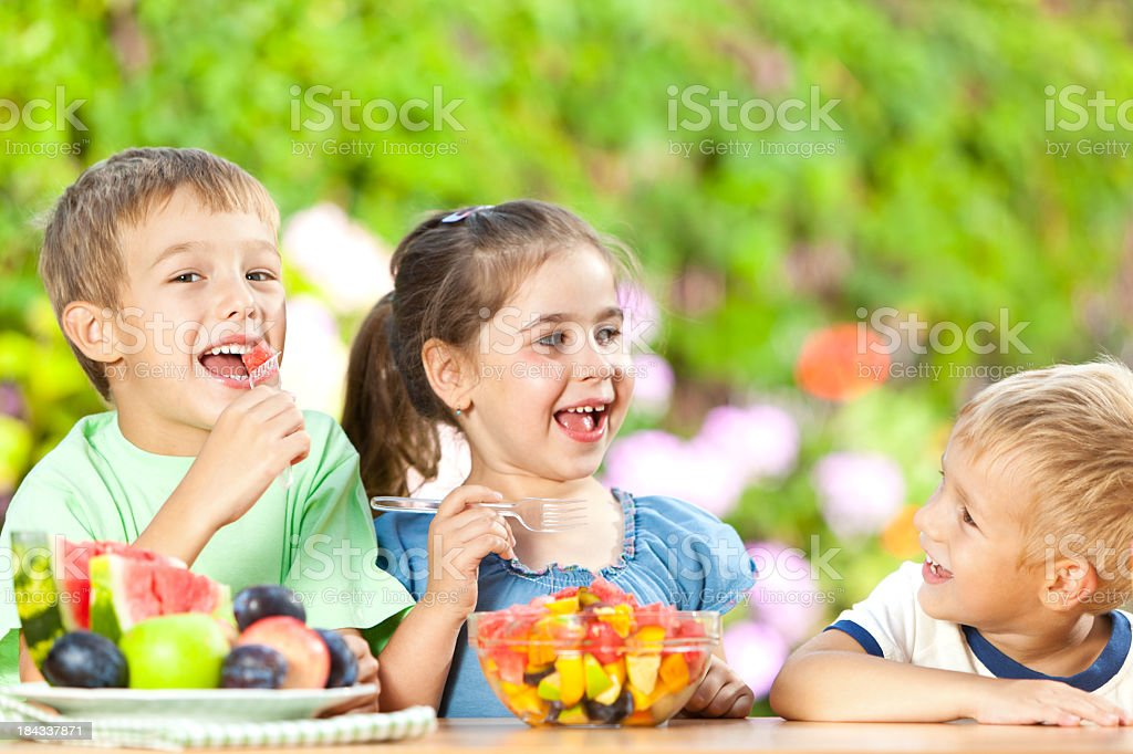 Children Eating Healthy Snack royalty-free stock photo