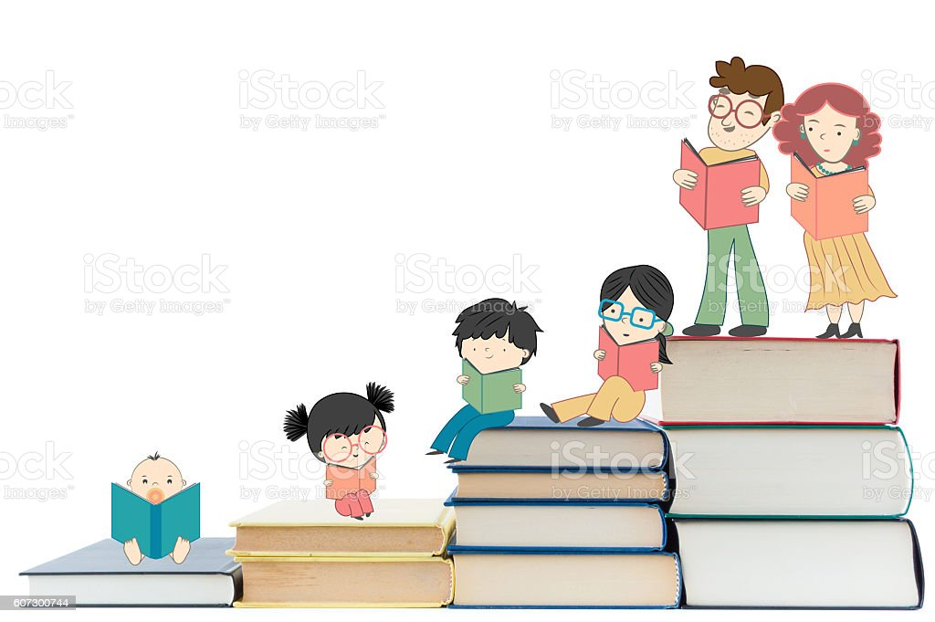 Children education and young culture growth with books stock photo