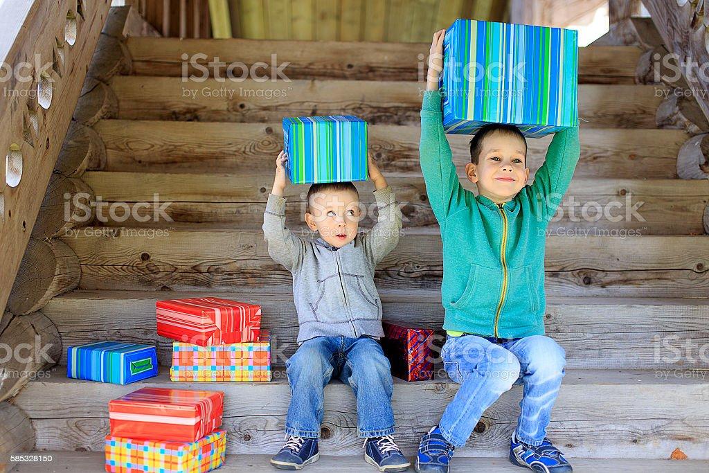 children enjoy gifts stock photo