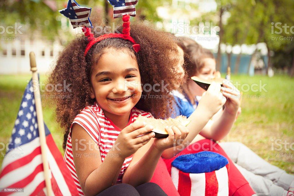 Children enjoy July 4th stock photo