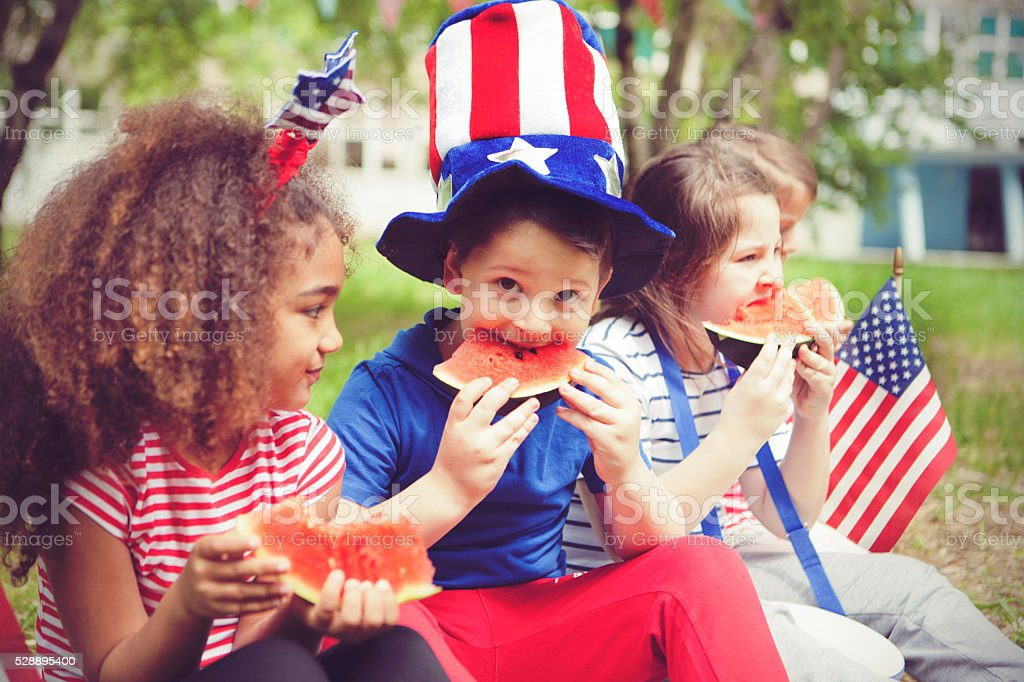 Children enjoy July 4th stock photo