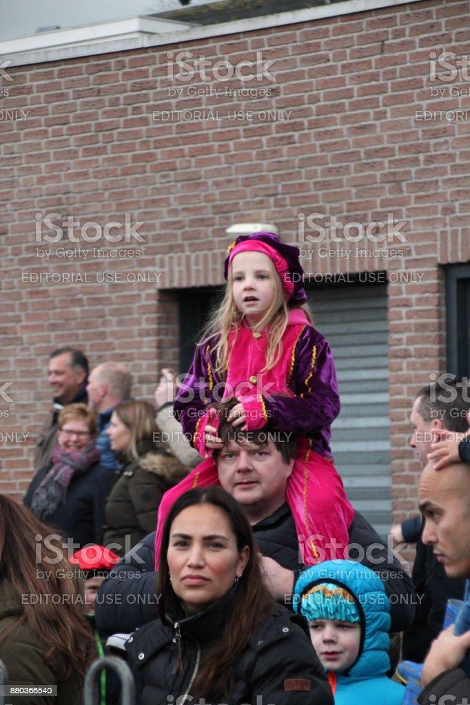 Children enjoying the arrival of sinterklaas in the ring canal in Nieuwerkerk aan den IJssel stock photo